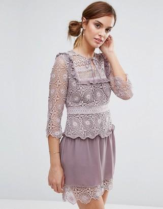 Little White Lies Rachel Lace Bib Detail Dress-Purple
