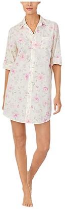 Lauren Ralph Lauren Cotton Rayon Lawn Woven 3/4 Sleeve Roll Tab Sleeve His Shirt Sleepshirt (Multi Floral) Women's Pajama