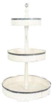 3R Studio Creative Co-op Decorative Wood Tin 3 Tier Tray