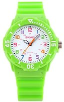 Jewtme Cute Kid Children Watch Colorful dial Watch For Boys Girls Students-Green