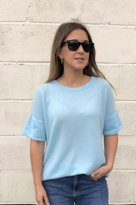 Kinross Short Sleeve Cashmere Top In Oasis Blue - Xlarge