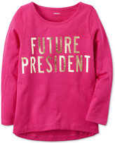 Carter's Future President Graphic-Print Long-Sleeve Cotton T-Shirt, Toddler Girls (2T-4T)