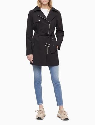 Calvin Klein Soft Shell Asymmetric Zip Trench Coat