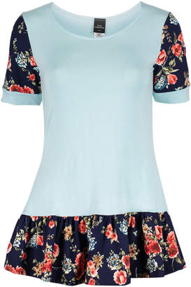 One Fashion By Cozy Collection One Fashion by Cozy Collection Women's Tunics L. - Light Mint Floral Ruffle-Hem Short-Sleeve Swing Top - Women & Plus