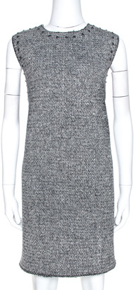 Valentino Monochrome Tweed Studded Sleeveless Shift Dress L