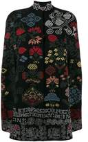 Alexander McQueen graphic and floral intarsia wool knit cape