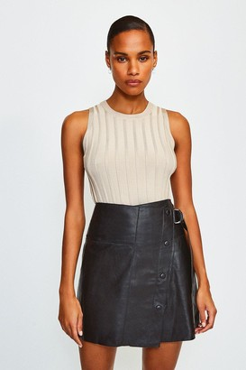 Karen Millen Leather A Line Mini Skirt