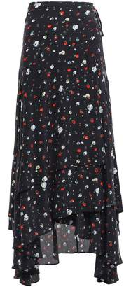 Ganni Floral-print Silk Crepe De Chine Midi Wrap Skirt