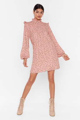 Nasty Gal Womens Spriggy Flora Pleated High Neck Smock dress - Pink - 4