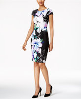 Connected Petite Floral Ruched Sheath Dress