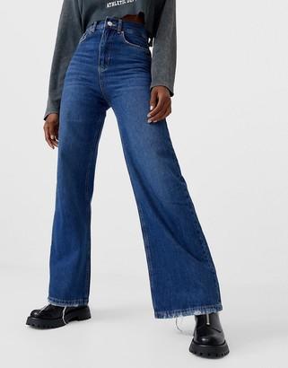 Stradivarius 90s super wide leg jean in blue