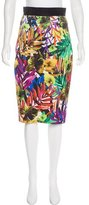 Milly Palm Print Pencil Skirt
