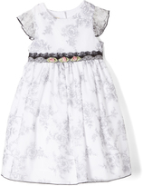 Laura Ashley Black & White Damask Angel-Sleeve Dress - Infant