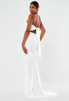 Missguided White Slinky Tie Back Fishtail Wedding Dress