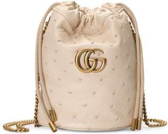 Gucci GG Marmont ostrich mini bucket bag