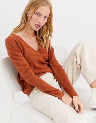 Only long sleeve v neck pullover knit jumper-Orange