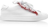 Tory Burch Ruffle Snow White & Red Leather Flat Sneakers