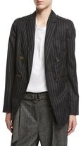 Brunello Cucinelli Regimental-Stripe Double-Breasted Jacket with Swarovski®; & Monili Details, Gray