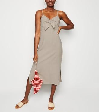 New Look Linen-Look Tie Front Midi Dress