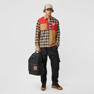 Burberry Colour Block and Check Cotton Zip-front Shirt