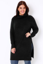 Yours Clothing Black Boucle Longline Jumper With Side Slits & Cowl Neck