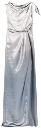 Roland Mouret Silvabella Silk-blend Lame Gown - Womens - Silver Multi