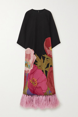 Valentino Feather-trimmed Floral-print Silk Crepe De Chine Maxi Dress - Black