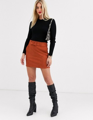 Vero Moda faux suede belted skirt-Tan
