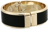 Kenneth Cole New York Gold and Black Hinged Cuff Bracelet