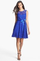 Betsy & Adam V-Back Lace Overlay Fit & Flare Dress