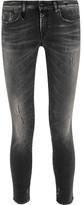 R 13 Kate Distressed Low-rise Skinny Jeans - Black