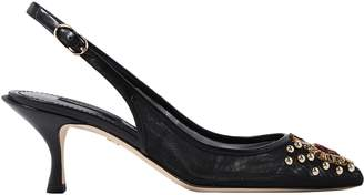 Dolce & Gabbana Lori Leather And Embellished Mesh Slingback Pumps