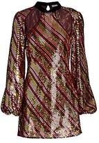 Rixo Women's Harriet Sequin Cut-Out Mini Dress