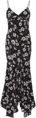 Michael Kors Pleated Floral-Print Silk Slip Dress