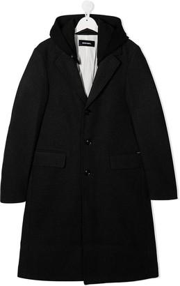 Diesel TEEN hooded single breasted coat