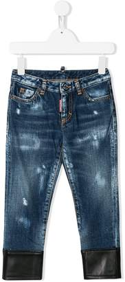DSQUARED2 faux leather trimmed jeans