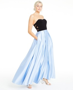 Thumbnail for your product : Blondie Nites Juniors' Strapless Crisscross-Side Gown