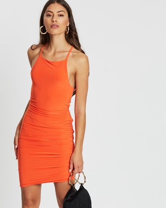 Missguided Slinky Lace-Up Back Ruched Mini Dress