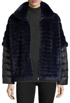 Gorski Rabbit Fur Jacket w/ Removable Down Sleeves