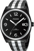 Pulsar Mens Black Stainless Steel Watch PS9281