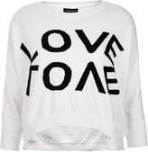 Knitted Love Motif Crop Sweat