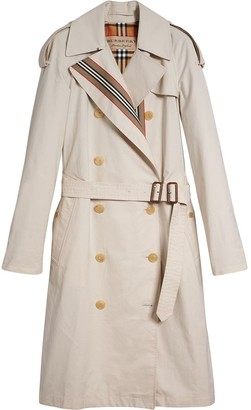 Burberry Heritage Stripe Cotton Gabardine Trench Coat