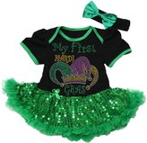 Petitebella Mardi Gras Baby Dress Rhinestone Crown Black Bodysuit Sequin Tutu Nb-18m