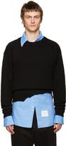 Raf Simons Black Wool Destroyed Sweater