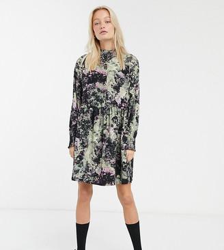 Monki floral print mini smock dress in black