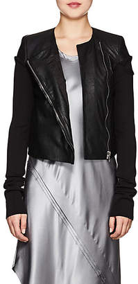 Rick Owens Women's Knit-Sleeve Blistered-Leather Jacket - Black