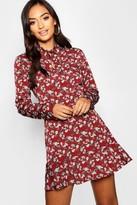boohoo Petite Woven Tie Neck Floral Tea Dress