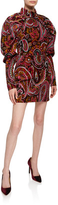 Rotate by Birger Christensen Paisley Velvet Puff-Sleeve Mini Dress
