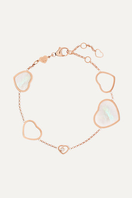 Chopard Happy Hearts 18-karat Rose Gold, Diamond And Mother-of-pearl Bracelet - one size