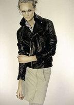Nolan Biker Leather Jacket in Black and Dark Espresso